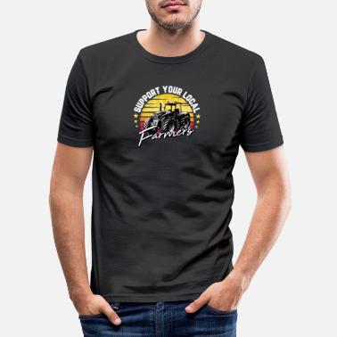 Hog Funny Farm Gift Support Your Local Farmers For - Men's Slim Fit T-Shirt