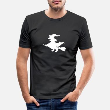 Witches Broom Witch on broom - Men's Slim Fit T-Shirt