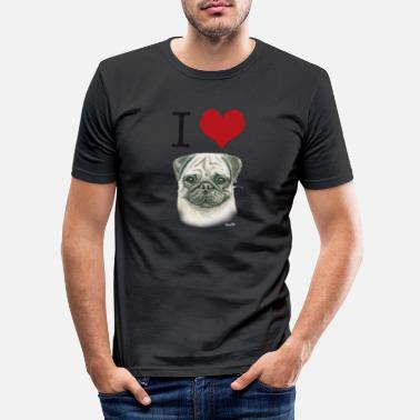 I love Möpse - Männer Slim Fit T-Shirt
