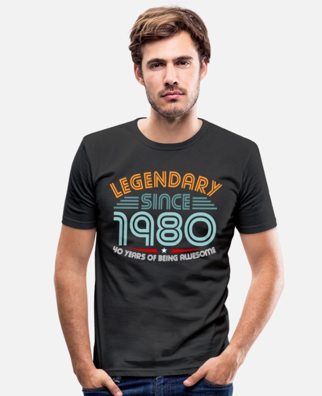 40th Birthday T-Shirts - 40th birthday - Men's Slim Fit T-Shirt black