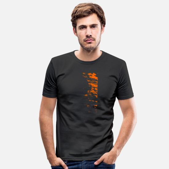 Kunst T-Shirts - Kunst Orange - Männer Slim Fit T-Shirt Schwarz