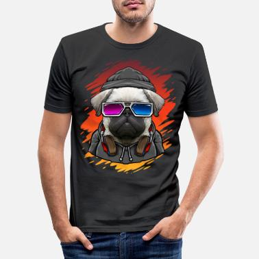 Dj Dog pug with music DJ - Men's Slim Fit T-Shirt