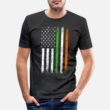 Irish Irish American Flag St Patricks Day Vintage - Men's Slim Fit T-Shirt