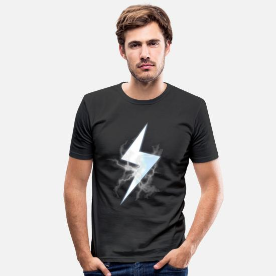 Lightning T-Shirts - Lightning strike - Men's Slim Fit T-Shirt black