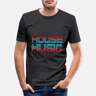 House HOUSE Music Dancing Celebrate - T-shirt slim fit herr