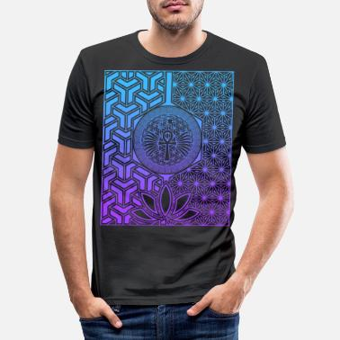 Enlightent Egypt Ancient Wisdom Sacred Geometry Ankh Gradient - Men's Slim Fit T-Shirt