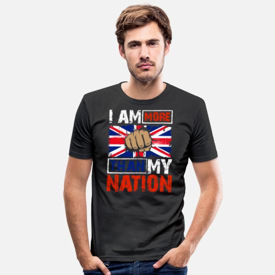 Quotes T-Shirts - Anti Patriotism Quote Shirt Great Britain - Men's Slim Fit T-Shirt black