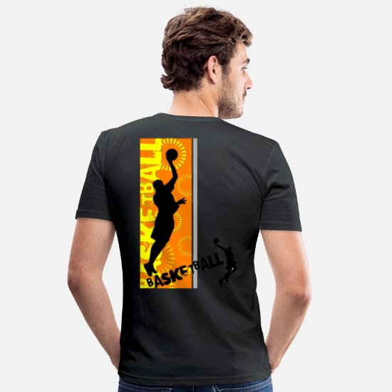 Basketball T-Shirts - BASKET WORLD - Men's Slim Fit T-Shirt black