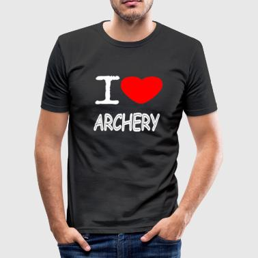 I LOVE ARCHERY - Männer Slim Fit T-Shirt