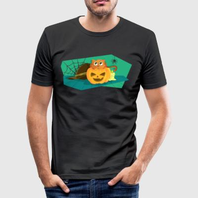 Halloween pumpa med katten och spindel - Slim Fit T-shirt herr