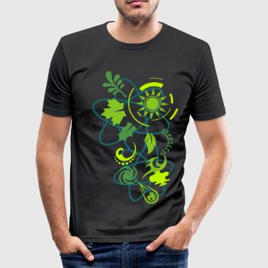 All green!, Galaxy, Earth, Atom, nature, Sun,.  - Men's Slim Fit T-Shirt