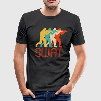 Retro Pop Art Swat Team. CO19. Police.Swat Officer - Men's Slim Fit T-Shirt