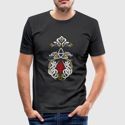 Viking drakar triquetra - Slim Fit T-shirt herr