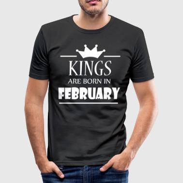 Kings are born in February - Männer Slim Fit T-Shirt