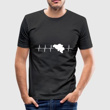 Belgium, heartbeat design (I love Belgium) - Men's Slim Fit T-Shirt