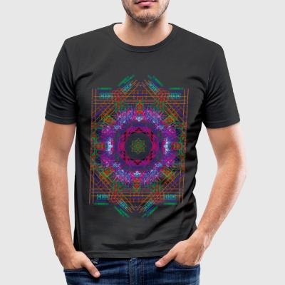 Psychedelic Star Grid - Slim Fit T-shirt herr
