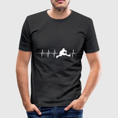 I love roller (heartbeat patin) - Tee shirt près du corps Homme