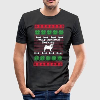 Pugly Christmas Sweater - Männer Slim Fit T-Shirt