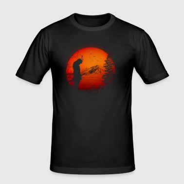 Japan Samurai Warriors (Japan / landscape / flag) - Men's Slim Fit T-Shirt