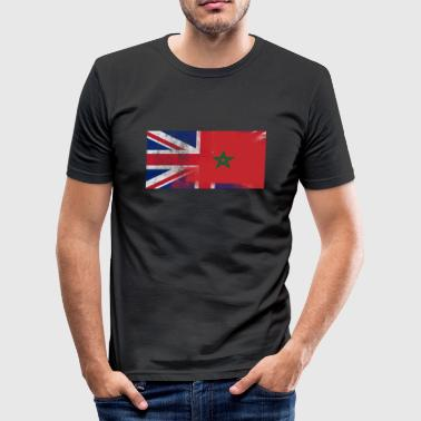 British Maroccan Half Morocco Half UK Flag - Men's Slim Fit T-Shirt