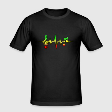 Reggae, music, notes, pulse, frequency, Rastafari - T-shirt près du corps Homme