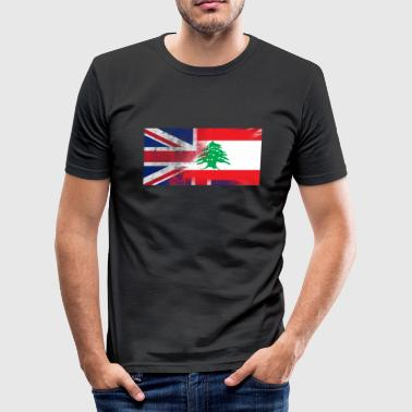British Lebanese Half Lebanon Half UK Flag - Men's Slim Fit T-Shirt