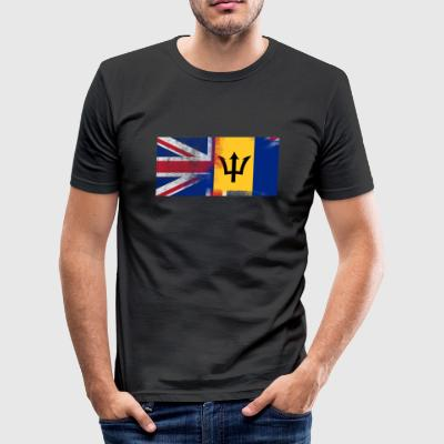 British Barbadian Barbados Half Half UK Flag - Slim Fit T-skjorte for menn