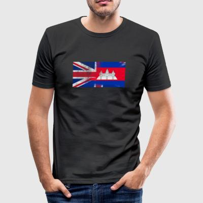 British Cambodian Half-Cambodia Half UK Flag - Men's Slim Fit T-Shirt