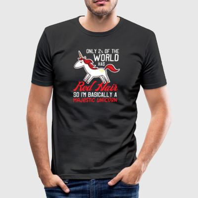 Red Hair - Majestic Unicorn - Herre Slim Fit T-Shirt