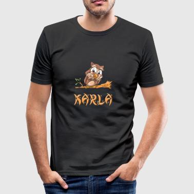 Eule Karla - Männer Slim Fit T-Shirt