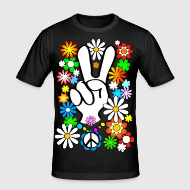 Flower Power & Peace (store) (k) - Slim Fit T-shirt herr