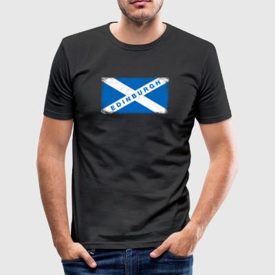Edinburgh Shirt Vintage Schottland-Flaggen-T-Shirt - Männer Slim Fit T-Shirt