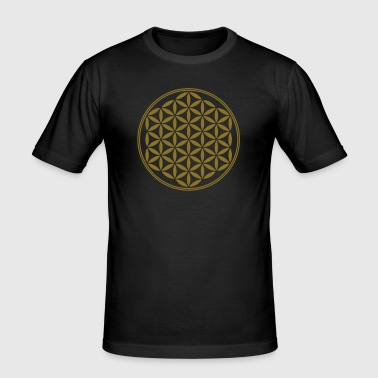 Flower of Life - Vector - 02, 1c, sacred geometry, energy, symbol, powerful, healing, protection,  - Men's Slim Fit T-Shirt