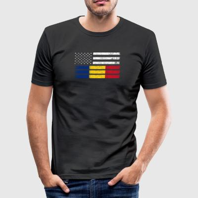 Roemeense Amerikaanse Vlag - de VS Roemenië Shirt - slim fit T-shirt