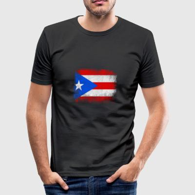 Puerto Rico State Flag Distressed Vintage Shirt - Männer Slim Fit T-Shirt