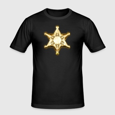 Gold Sheriff Star, Wild West America, Chief, Boss - Men's Slim Fit T-Shirt