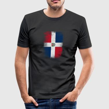 Dominic Dominicaanse Republiek Vlag Vintage Verontruste - slim fit T-shirt
