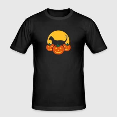 halloween_pumpkins_moon_cat_v1 - Men's Slim Fit T-Shirt