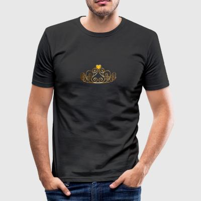 Crown med hjerte - Herre Slim Fit T-Shirt