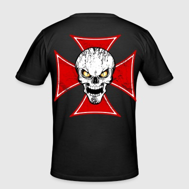 skull and maltese cross - T-shirt près du corps Homme