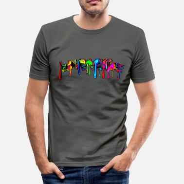 Color Splash Festival Farbe bunt, Paint, Color Graffiti, Comic, Spritzer - Männer Slim Fit T-Shirt