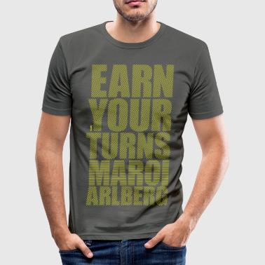 Earn your turns - yellow - Men's Slim Fit T-Shirt