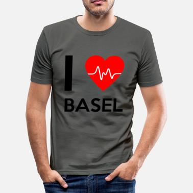 Basel I Love Basel - I Love Basel - Slim Fit T-skjorte for menn