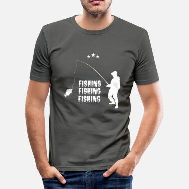 Saltwater Fishing Fisherman who is fishing with fish fishing - Men's Slim Fit T-Shirt
