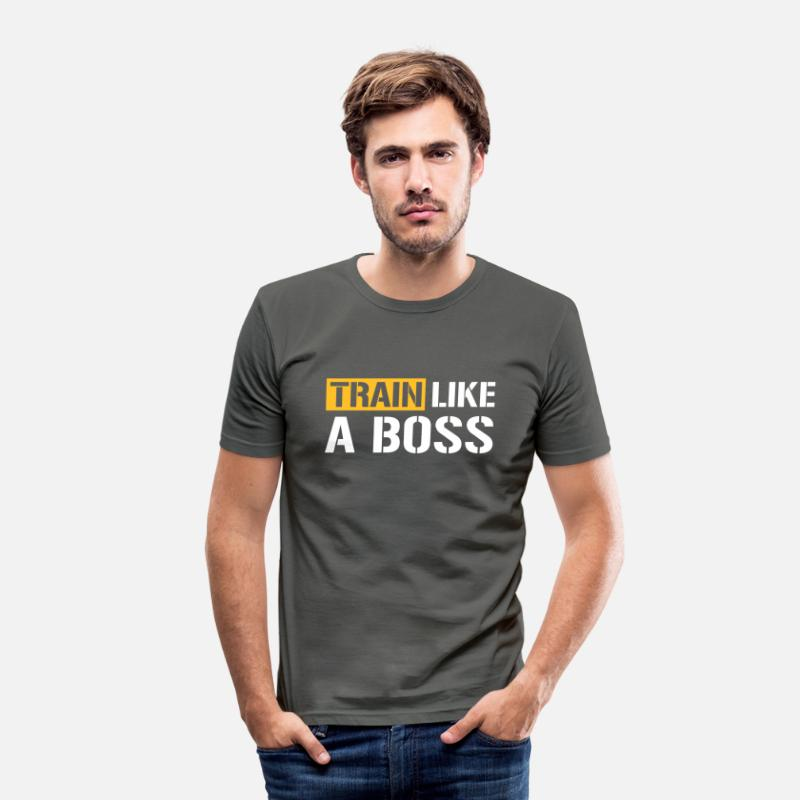 Boss T-Shirts - Train like a boss - Men's Slim Fit T-Shirt graphite grey