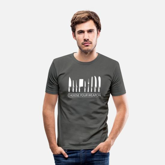 Cook T-Shirts - Cooking knifes - Men's Slim Fit T-Shirt graphite grey