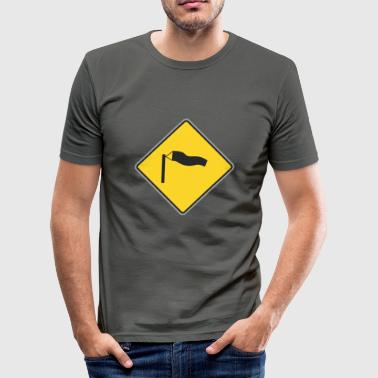 Winderig Sign winderige weg - slim fit T-shirt