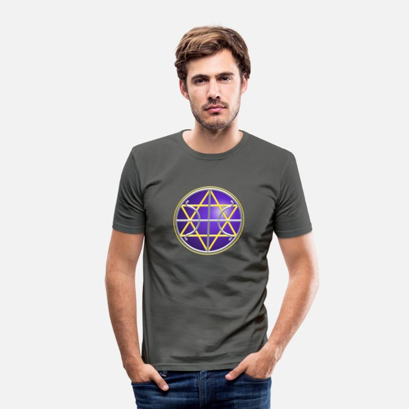 Seal T-Shirts - Ummac Dan - Galactic Federation Symbol For The Sirian Star System, digital - Men's Slim Fit T-Shirt graphite grey