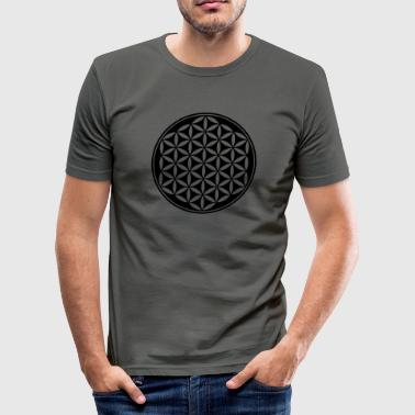 Buddha Feng Shui Flower of Life - Vector - 03, 1c, sacred geometry, energy, symbol, powerful, healing, protection,  - Men's Slim Fit T-Shirt
