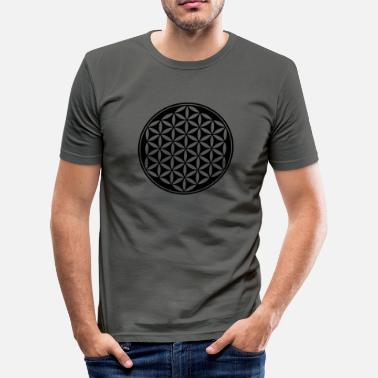 Melchizedek Flower of Life - Vector - 03, 1c, sacred geometry, energy, symbol, powerful, healing, protection,  - Men's Slim Fit T-Shirt